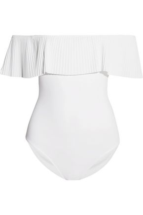 KARLA COLLETTO Josephine off-the-shoulder pleated swimsuit