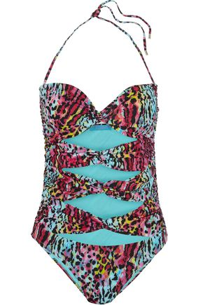 MATTHEW WILLIAMSON Akita leopard-print cutout swimsuit