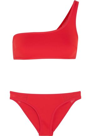 STELLA McCARTNEY One-shoulder neoprene and mesh bikini