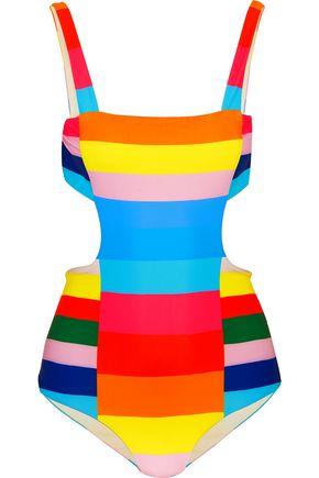 MARA HOFFMAN Vela striped cutout swimsuit