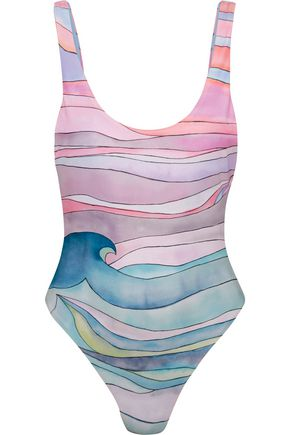 MARA HOFFMAN Waves printed swimsuit
