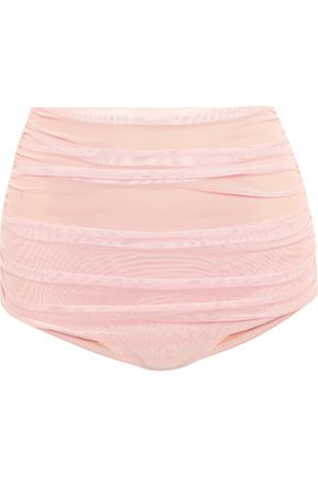 NORMA KAMALI Bill ruched stretch-tulle bikini briefs