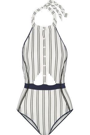 JONATHAN SIMKHAI Cutout striped bonded jersey halterneck swimsuit