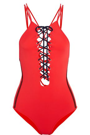 JONATHAN SIMKHAI Mesh-trimmed lace-up swimsuit