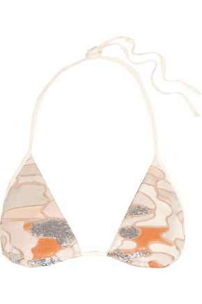 LA PERLA Make Love sequined triangle bikini top
