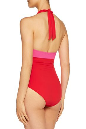 HEIDI KLUM SWIM Two-tone halterneck swimsuit