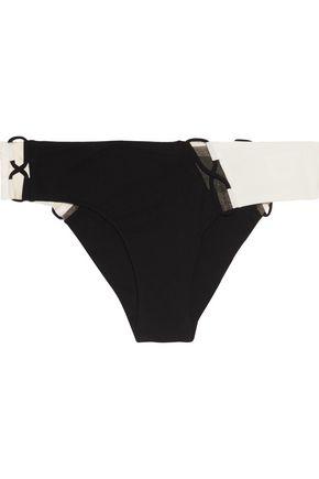 AGENT PROVOCATEUR Jojo lace-up tulle-trimmed bikini briefs