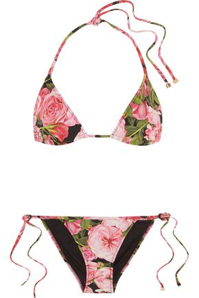 DOLCE & GABBANA Floral-print triangle bikini
