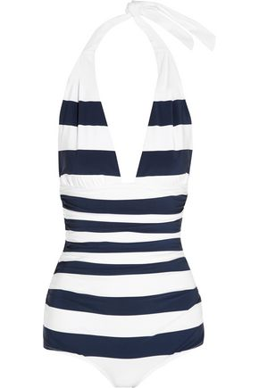DOLCE & GABBANA Ruched striped halterneck swimsuit