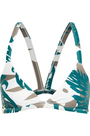 MIKOH Honolulu cutout printed triangle bikini top