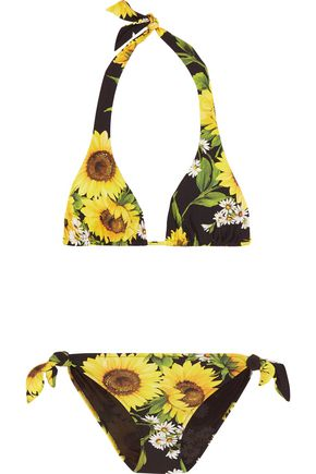DOLCE & GABBANA Floral-print halterneck triangle bikini