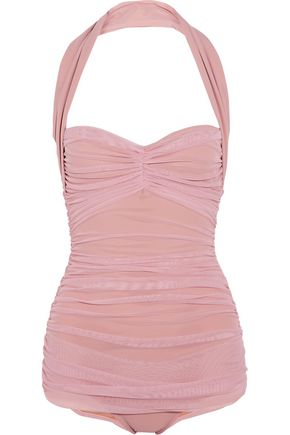 NORMA KAMALI Bill Mio ruched stretch-tulle swimsuit