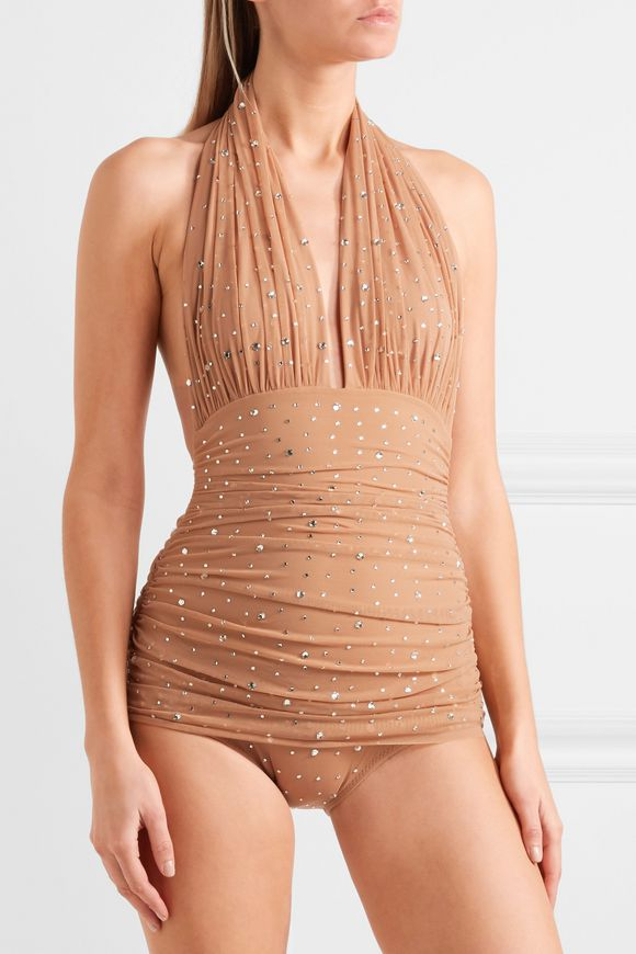 Bill embellished ruched stretch-tulle halterneck swimsuit | NORMA KAMALI | Sale  up to 70% off | THE OUTNET
