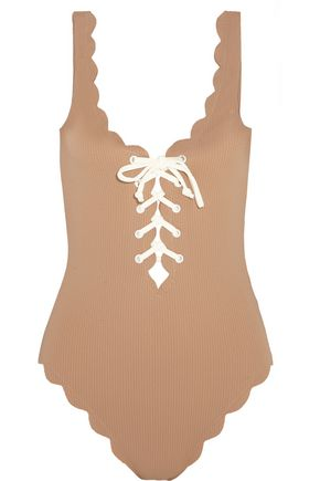 MARYSIA Palm Springs lace-up scalloped swimsuit
