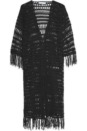 MELISSA ODABASH Belted fringed crochet-knit coverup