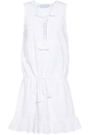 MELISSA ODABASH Lace-up embroidered cotton coverup