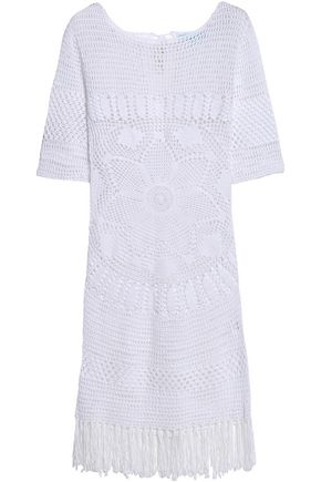 MELISSA ODABASH Lace-up fringed cotton coverup