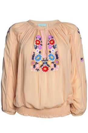 MELISSA ODABASH Selena embroidered voile blouse