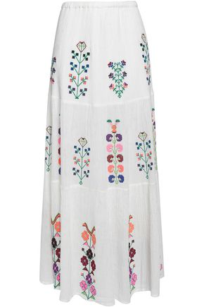 MELISSA ODABASH Embroidered cotton-gauze maxi skirt