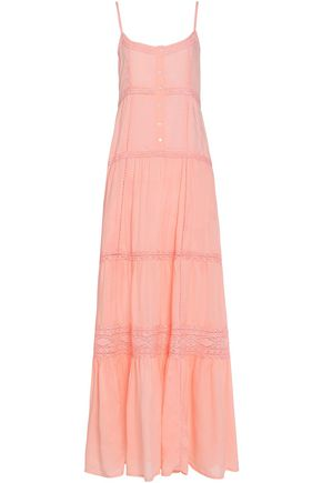 MELISSA ODABASH Mollie crochet-trimmed voile maxi dress