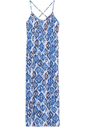 MELISSA ODABASH Embellished printed voile maxi dress