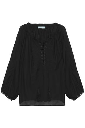 MELISSA ODABASH Lace-up embroidered voile blouse