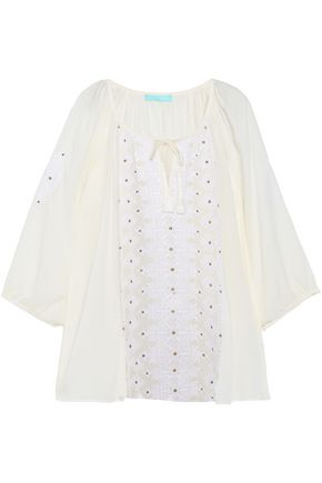 MELISSA ODABASH Tali tasseled embroidered voile top