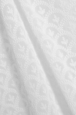 MELISSA ODABASH Lace-up embroidered gauze coverup