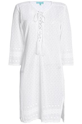 MELISSA ODABASH Lace-up embroidered gauze coverup