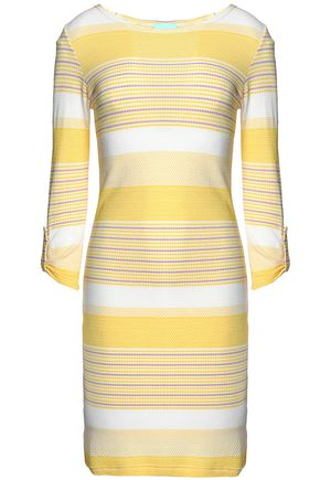 MELISSA ODABASH Maddie striped cloqué-knit coverup