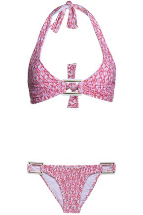 MELISSA ODABASH Paris Diamond ruched printed halterneck bikini