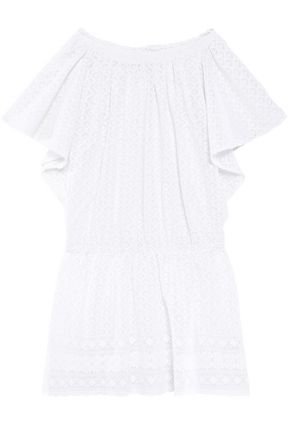 MELISSA ODABASH Off-the-shoulder embroidered gauze coverup
