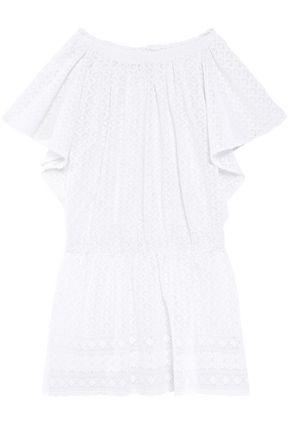MELISSA ODABASH Off-the-shoulder embroidered gauze coverup