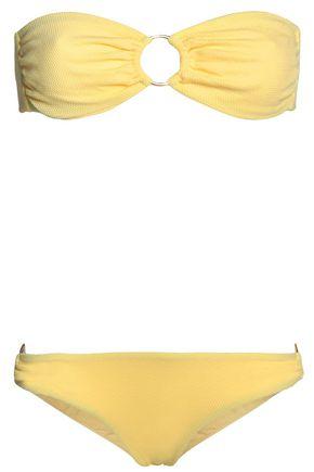 MELISSA ODABASH Evita piqué ruched bandeau bikini
