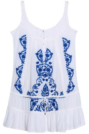 MELISSA ODABASH Embroidered voile coverup