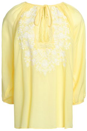 MELISSA ODABASH Rihanna embroidered voile top