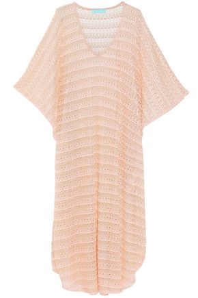 MELISSA ODABASH June metallic crochet-knit kaftan