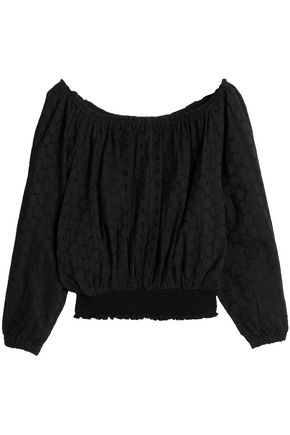 MELISSA ODABASH Adrianna off-the-shoulder broderie anglaise cotton top