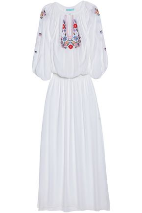 MELISSA ODABASH Embroidered voile maxi dress