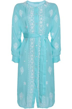 MELISSA ODABASH Belted embroidered broadcloth coverup