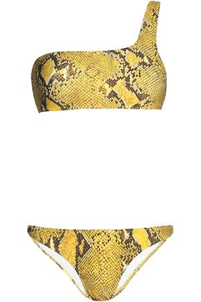 MELISSA ODABASH One-shoulder snake-print bikini