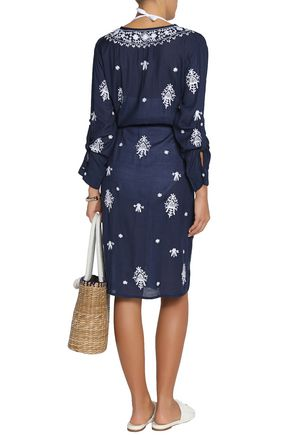 MELISSA ODABASH Belted embroidered voile coverup