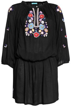 MELISSA ODABASH Nadja embroidered voile mini dress