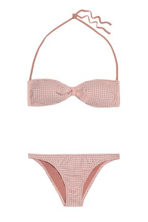 MELISSA ODABASH Knotted laser-cut bandeau bikini