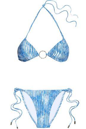 MELISSA ODABASH Embellished printed triangle bikini
