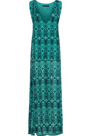VIX Snake-print cotton and silk-blend coverup
