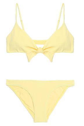 MELISSA ODABASH Tie-front piqué triangle bikini