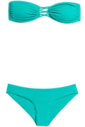 MELISSA ODABASH Lattice-trimmed bandeau bikini