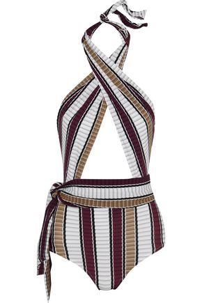 KARLA COLLETTO Palazzo striped wrap swimsuit