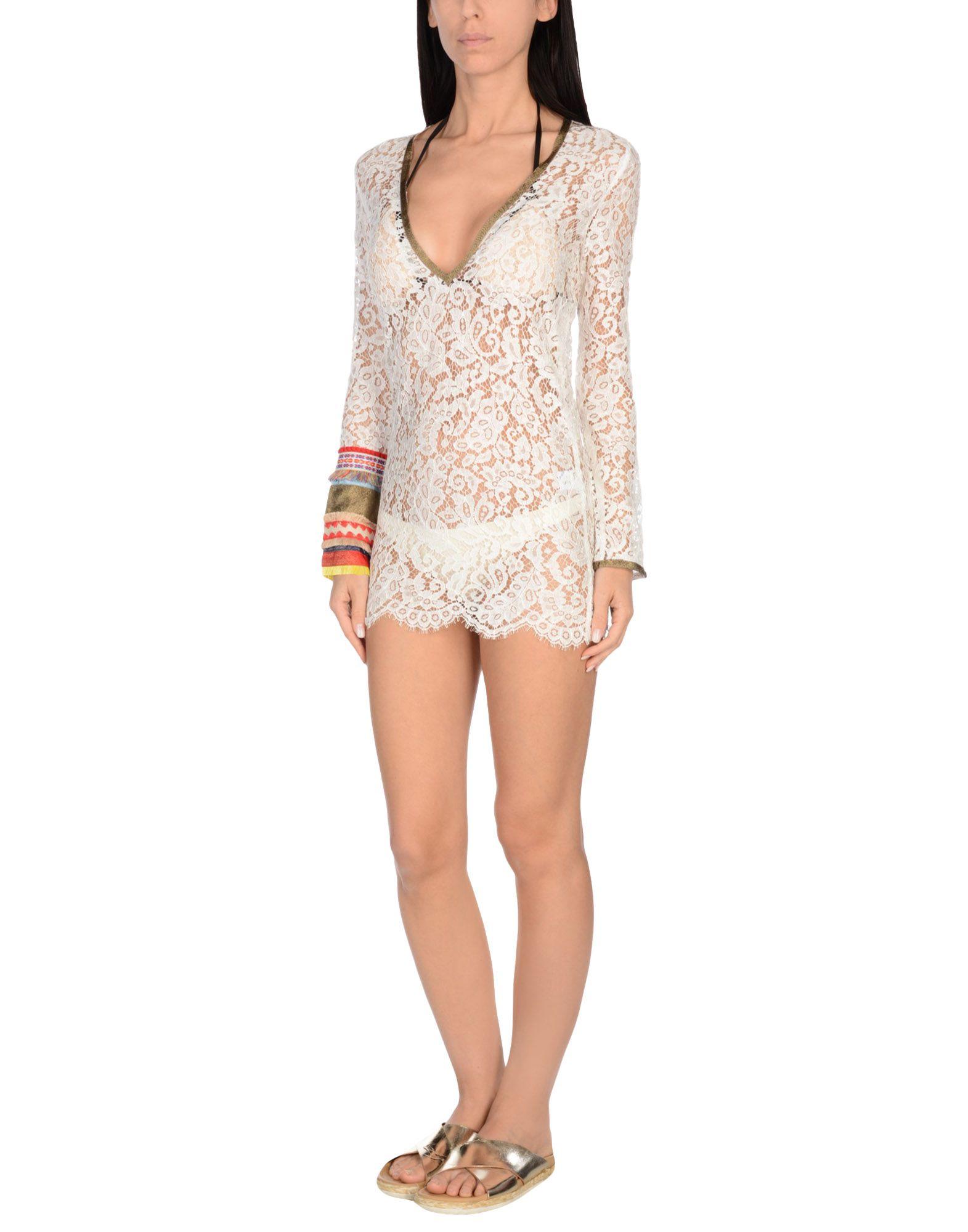 AMORISSIMO Пляжное платье criss cross long sleeve lace back t shirt